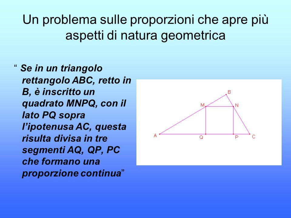 Un problema sulle proporzioni che apre più aspetti di natura geometrica
