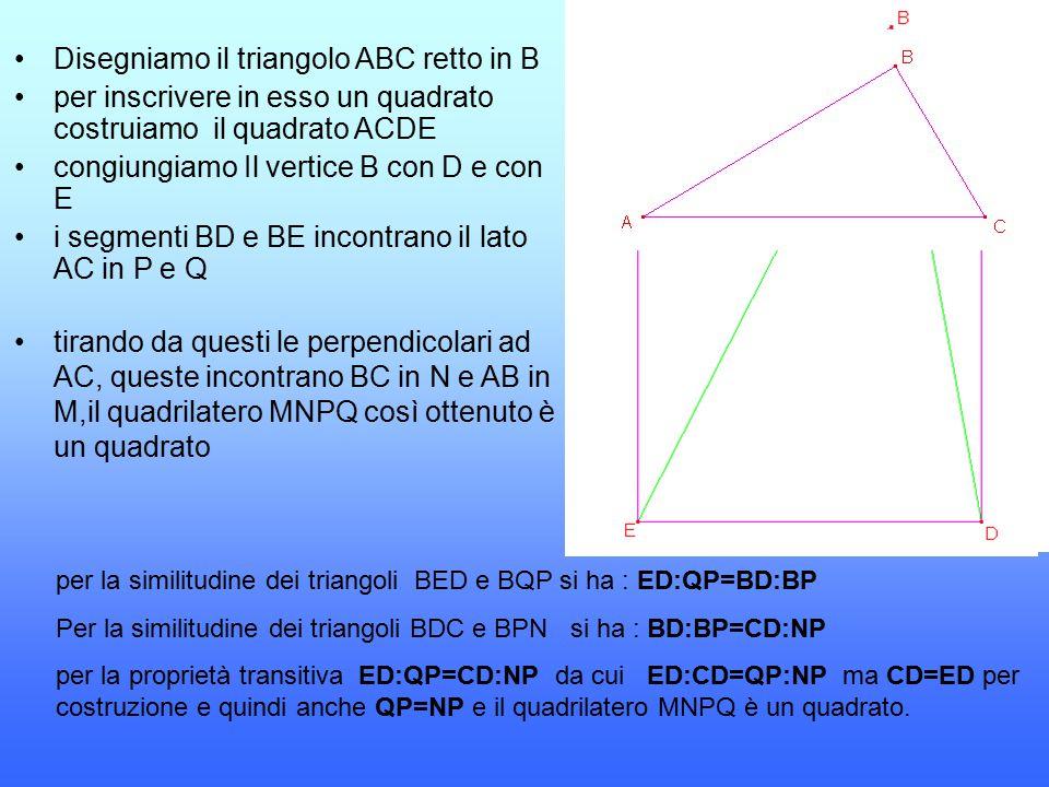 Disegniamo il triangolo ABC retto in B