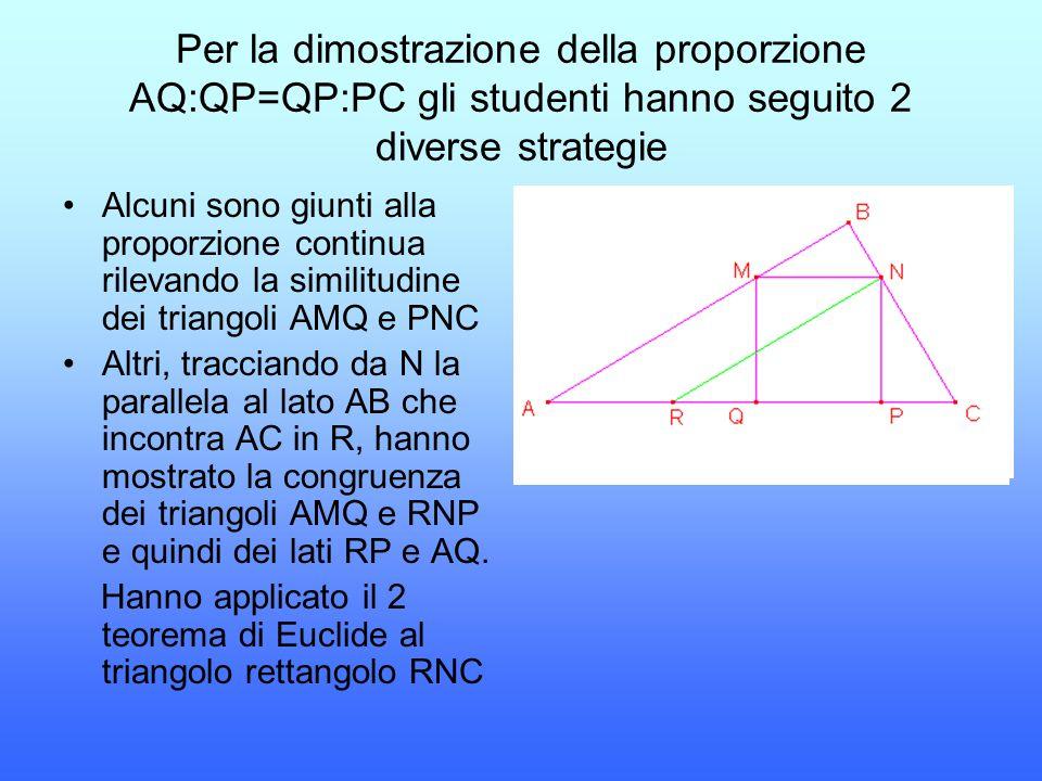 Per la dimostrazione della proporzione AQ:QP=QP:PC gli studenti hanno seguito 2 diverse strategie