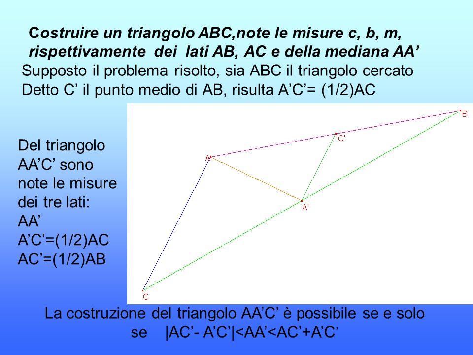Costruire un triangolo ABC,note le misure c, b, m, rispettivamente dei lati AB, AC e della mediana AA'