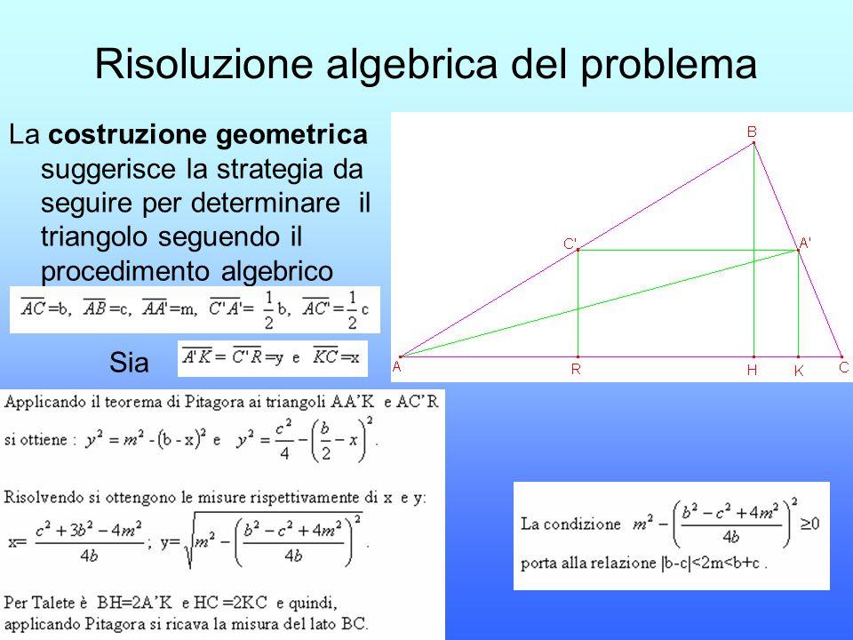 Risoluzione algebrica del problema
