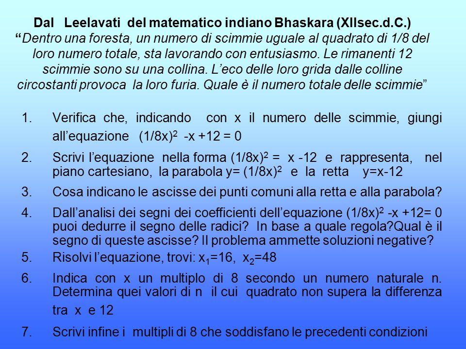 Dal Leelavati del matematico indiano Bhaskara (XIIsec. d. C