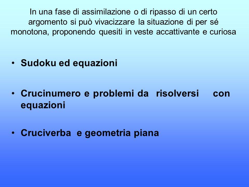 Crucinumero e problemi da risolversi con equazioni