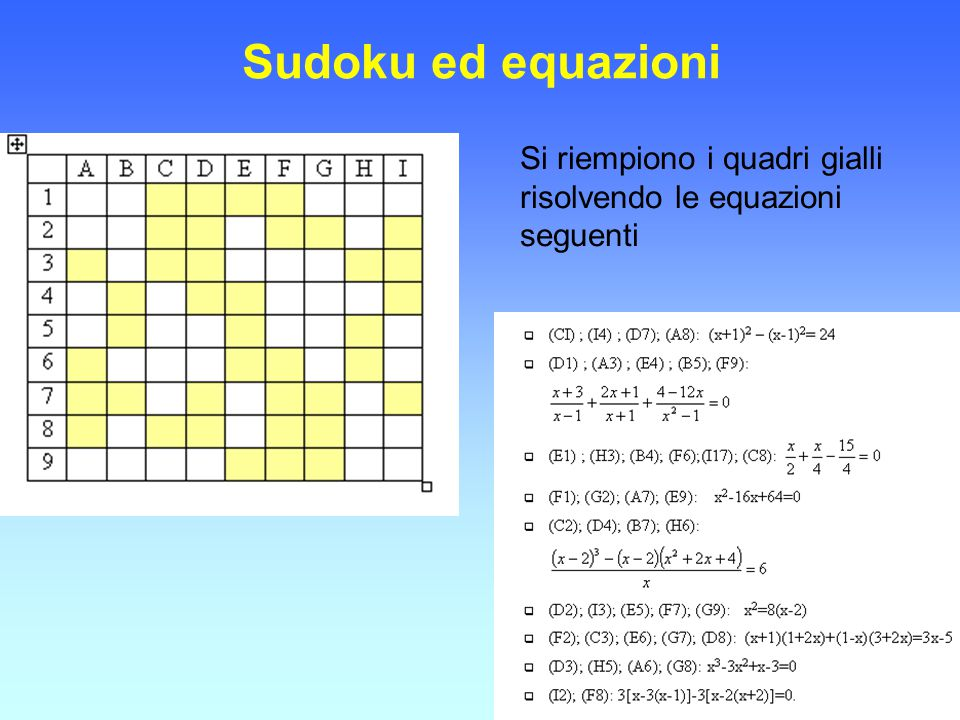 Sudoku ed equazioni Si riempiono i quadri gialli risolvendo le equazioni seguenti