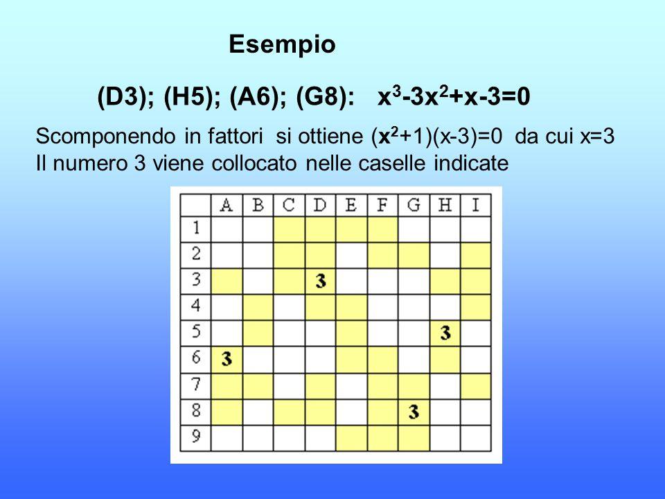 (D3); (H5); (A6); (G8): x3-3x2+x-3=0