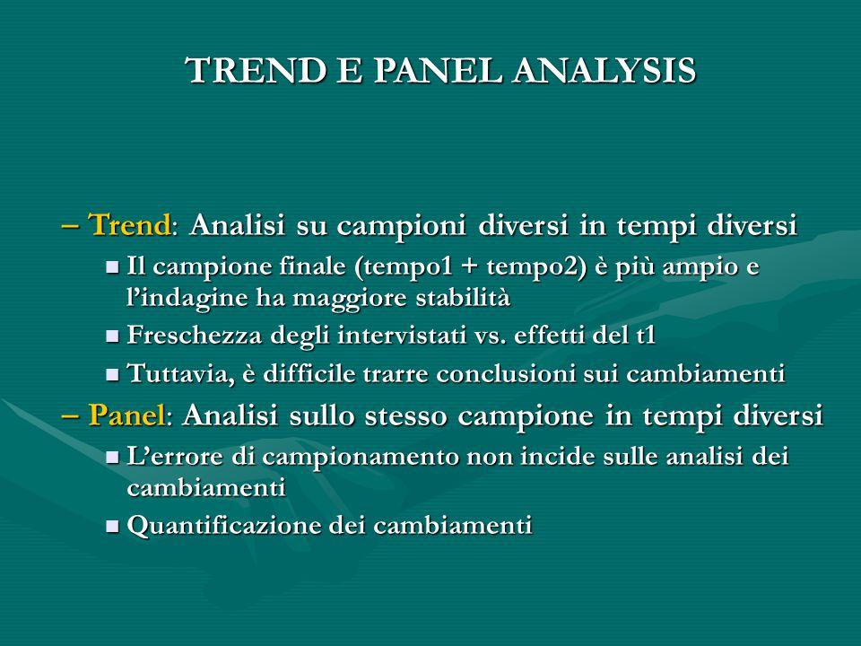 TREND E PANEL ANALYSIS Trend: Analisi su campioni diversi in tempi diversi.