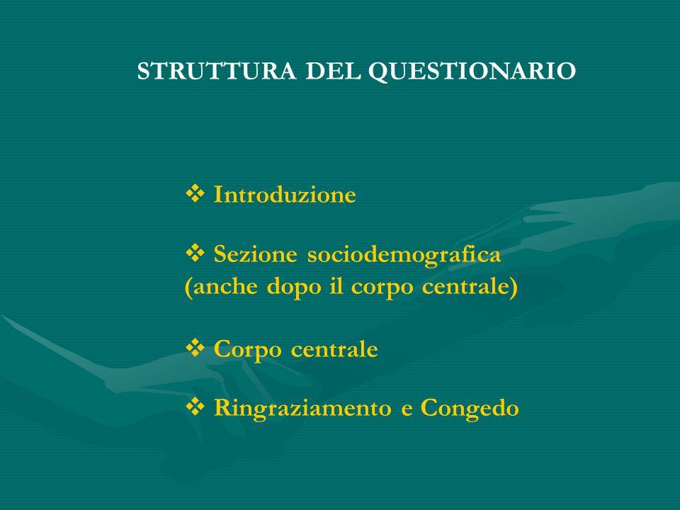 STRUTTURA DEL QUESTIONARIO