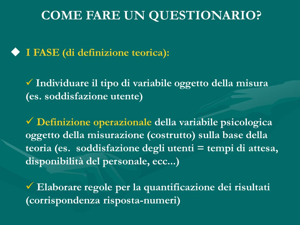 COME FARE UN QUESTIONARIO