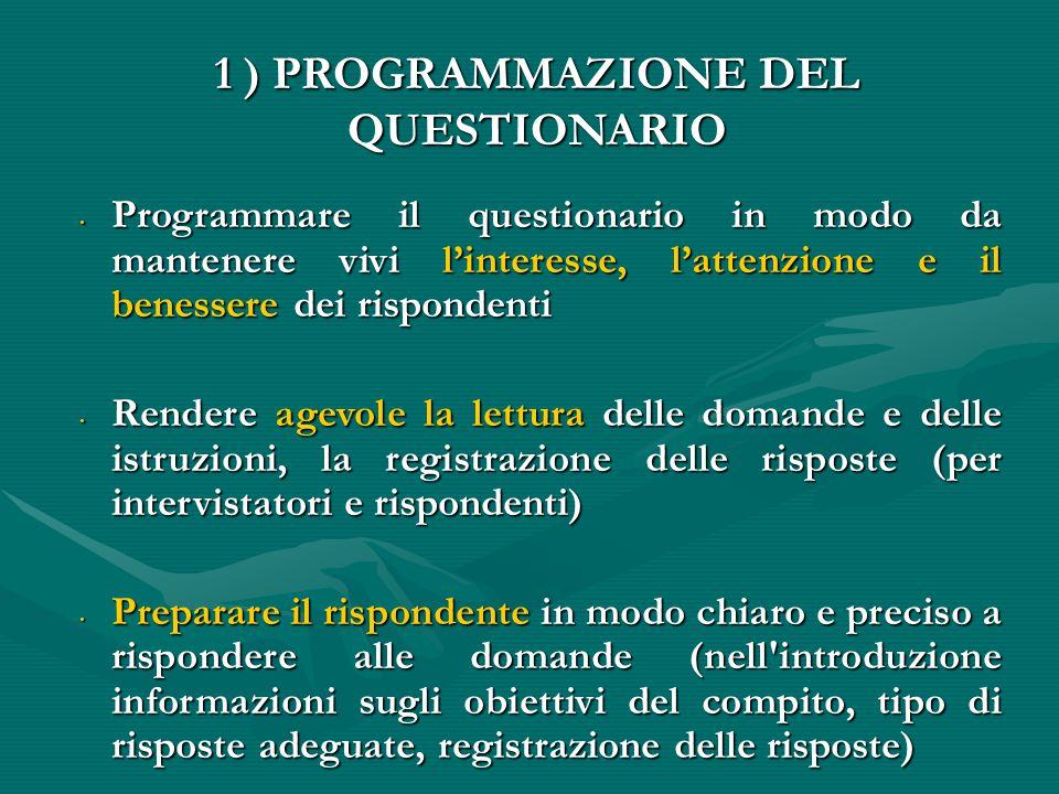 1 ) PROGRAMMAZIONE DEL QUESTIONARIO