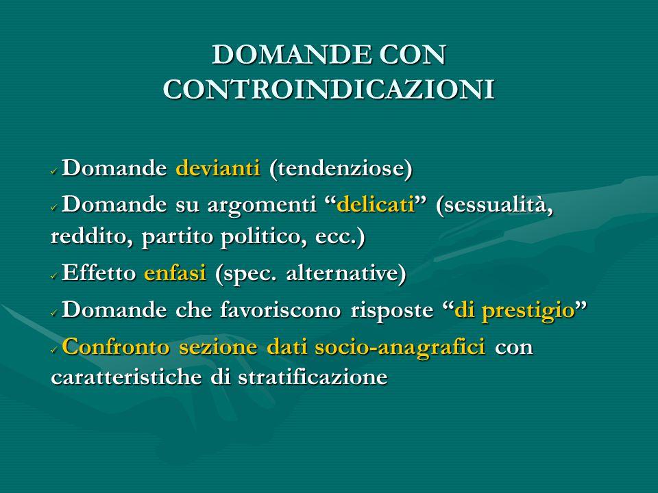 DOMANDE CON CONTROINDICAZIONI