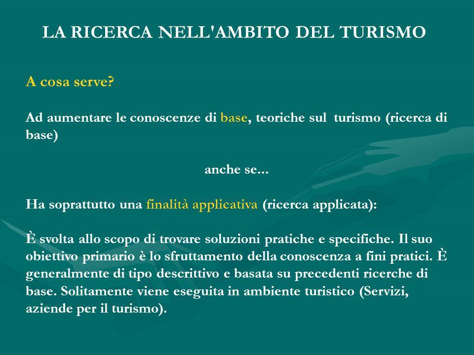 LA RICERCA NELL AMBITO DEL TURISMO