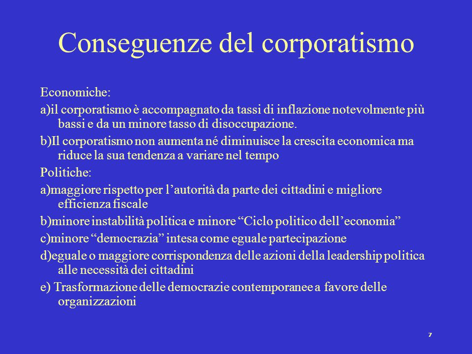 Conseguenze del corporatismo