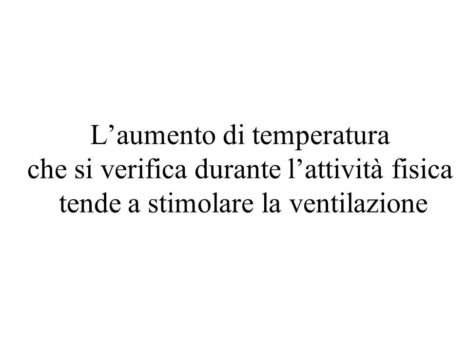 L'aumento di temperatura che si verifica durante l'attività fisica tende a stimolare la ventilazione