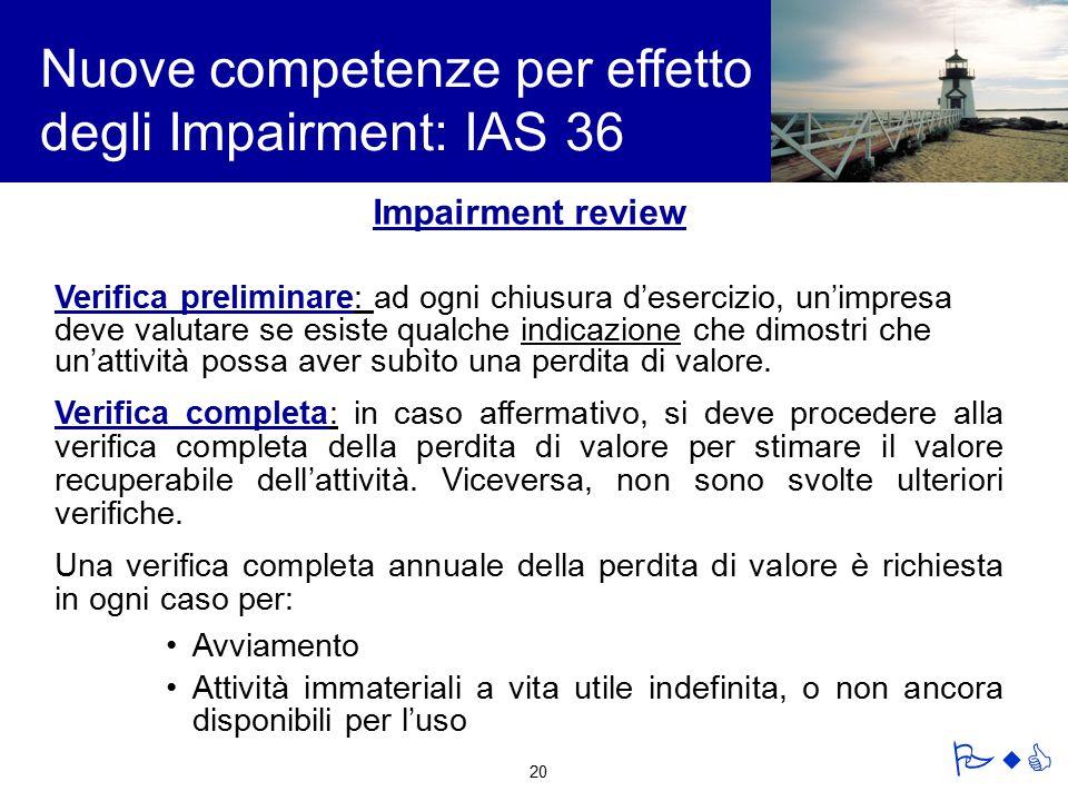 Nuove competenze per effetto degli Impairment: IAS 36