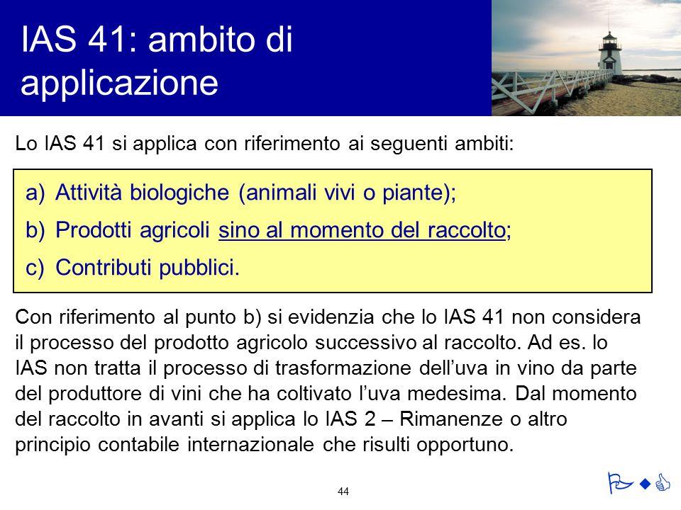 IAS 41: ambito di applicazione