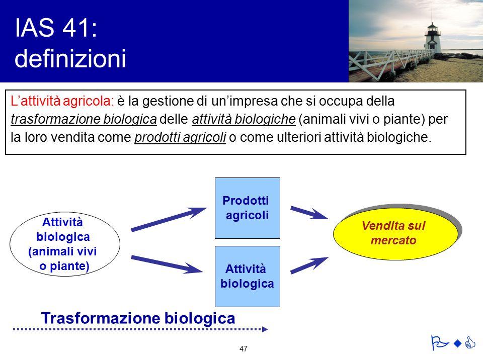IAS 41: definizioni Trasformazione biologica