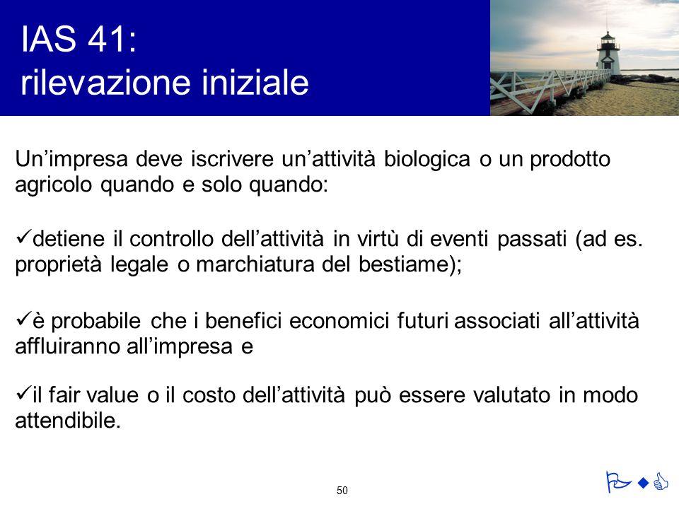 IAS 41: rilevazione iniziale