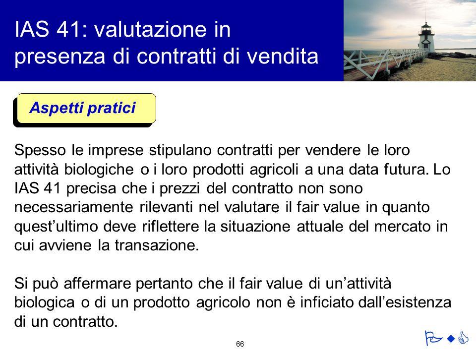 IAS 41: valutazione in presenza di contratti di vendita