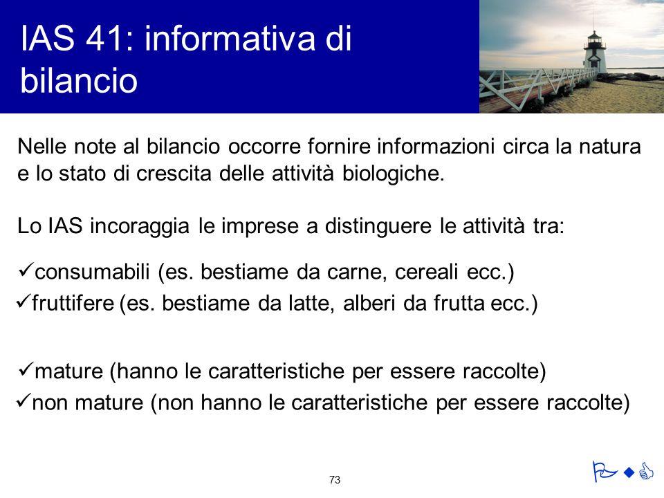 IAS 41: informativa di bilancio