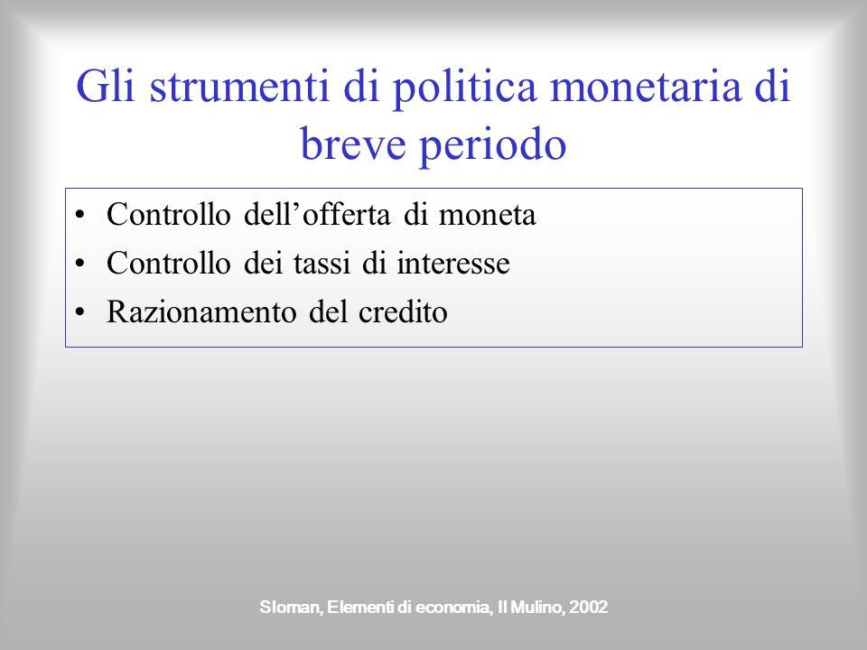 Gli strumenti di politica monetaria di breve periodo