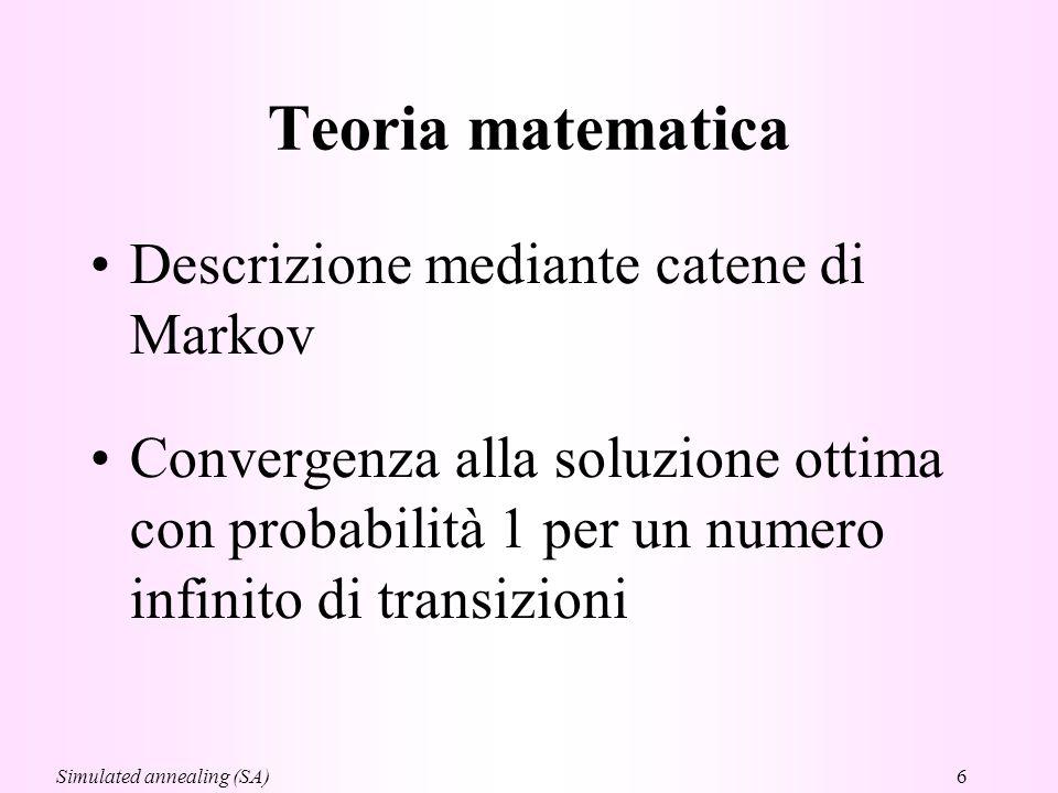 Teoria matematica Descrizione mediante catene di Markov