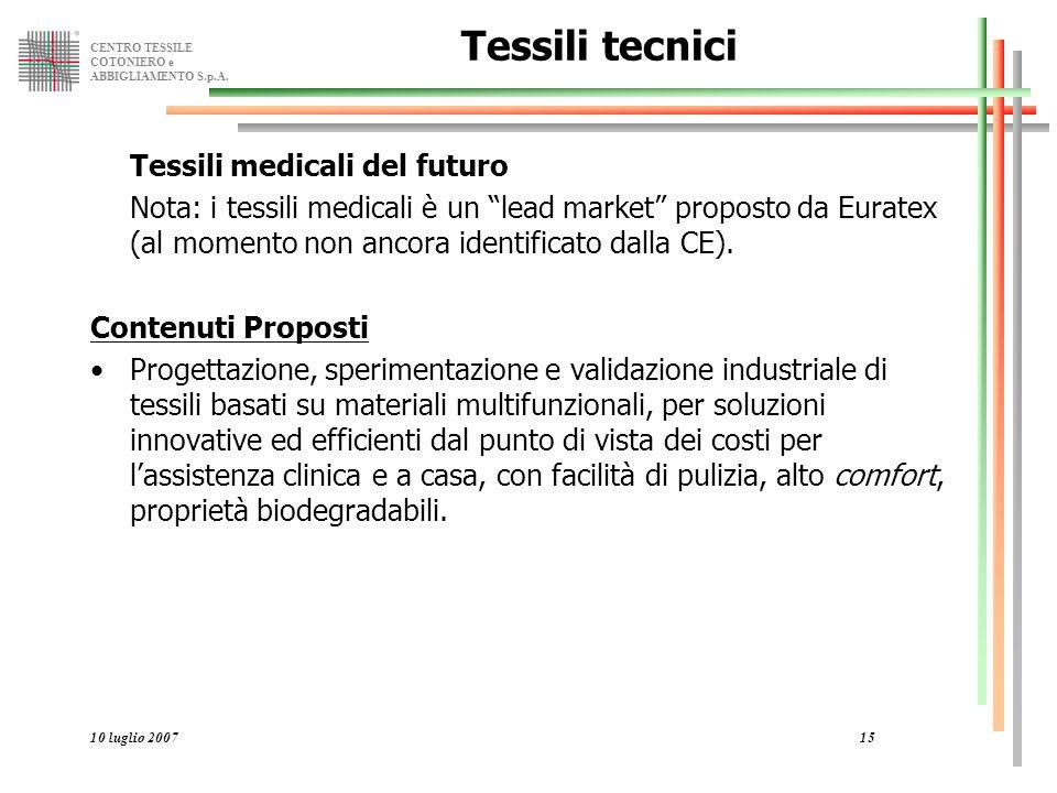 Tessili tecnici Tessili medicali del futuro