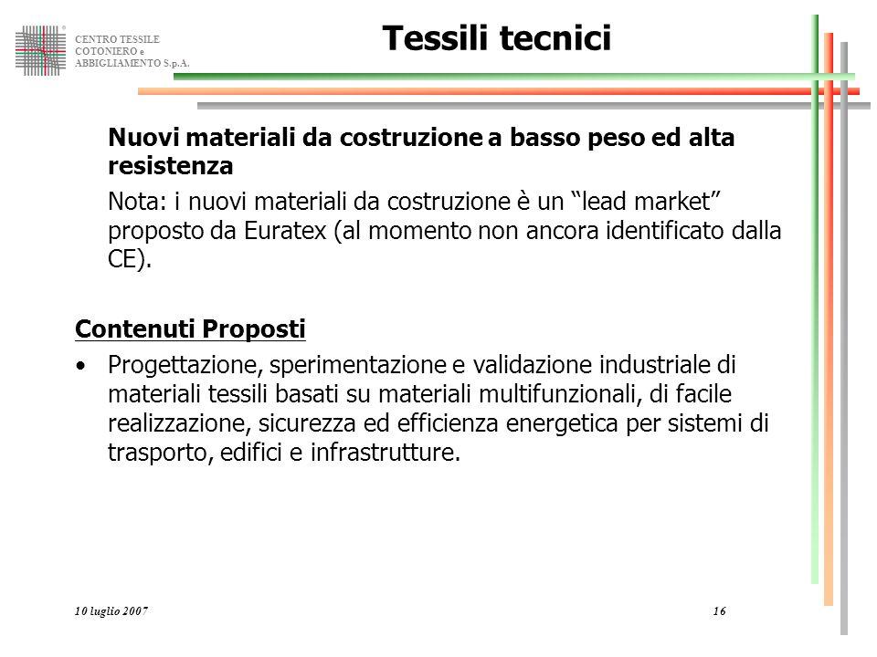 Tessili tecnici Nuovi materiali da costruzione a basso peso ed alta resistenza.