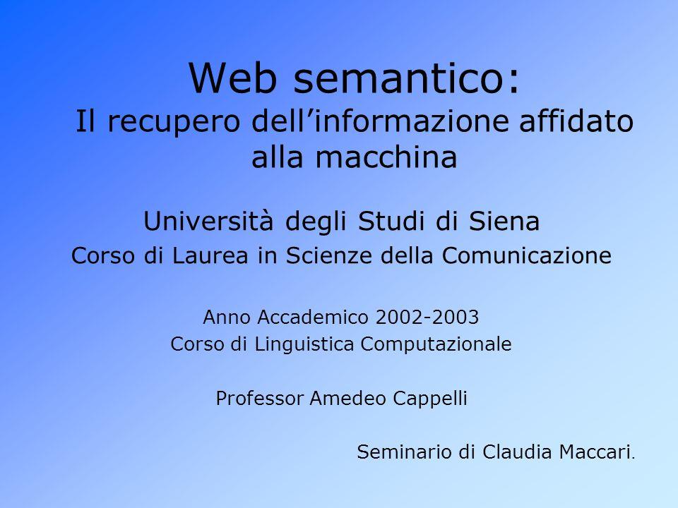 Web semantico: Il recupero dell'informazione affidato alla macchina