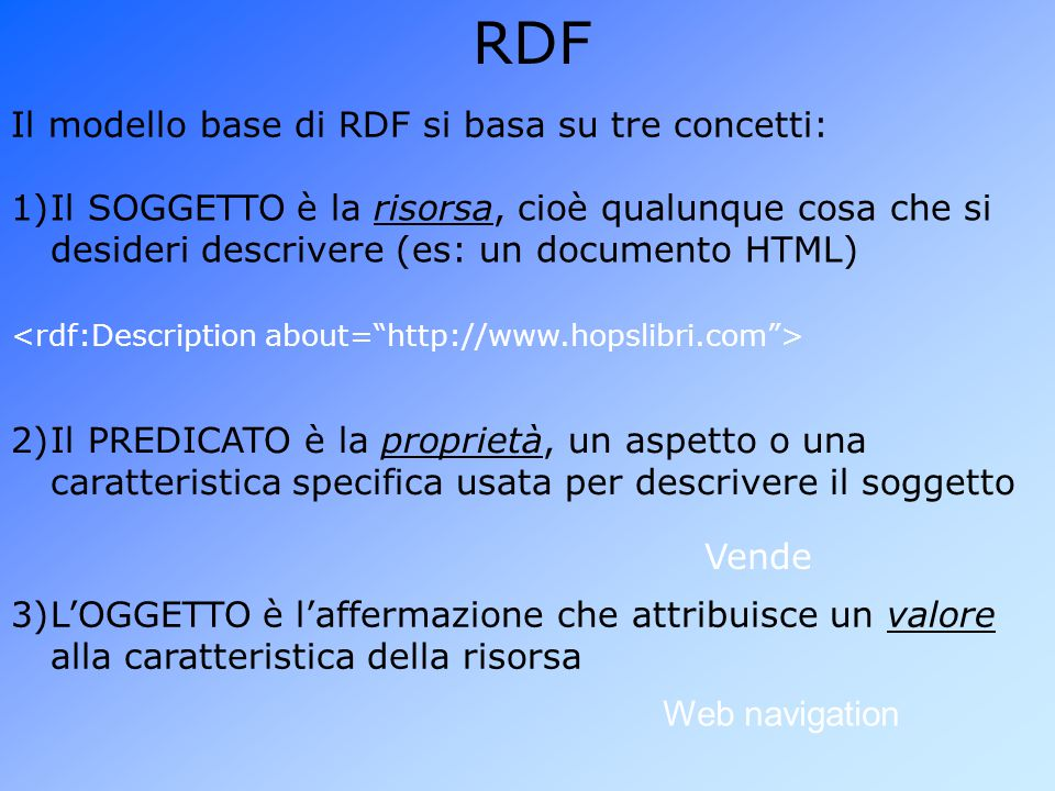 RDF Il modello base di RDF si basa su tre concetti: