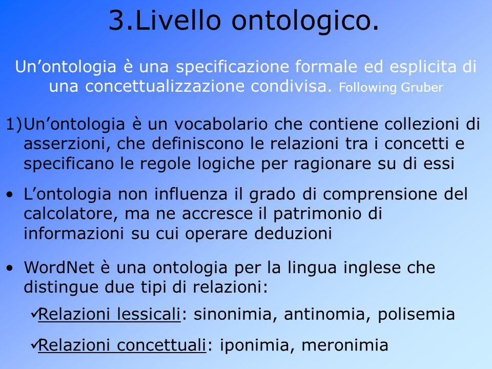 Livello ontologico. Un'ontologia è una specificazione formale ed esplicita di una concettualizzazione condivisa. Following Gruber.