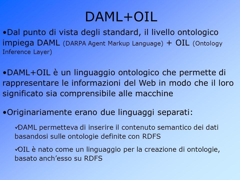 DAML+OIL Dal punto di vista degli standard, il livello ontologico impiega DAML (DARPA Agent Markup Language) + OIL (Ontology Inference Layer)