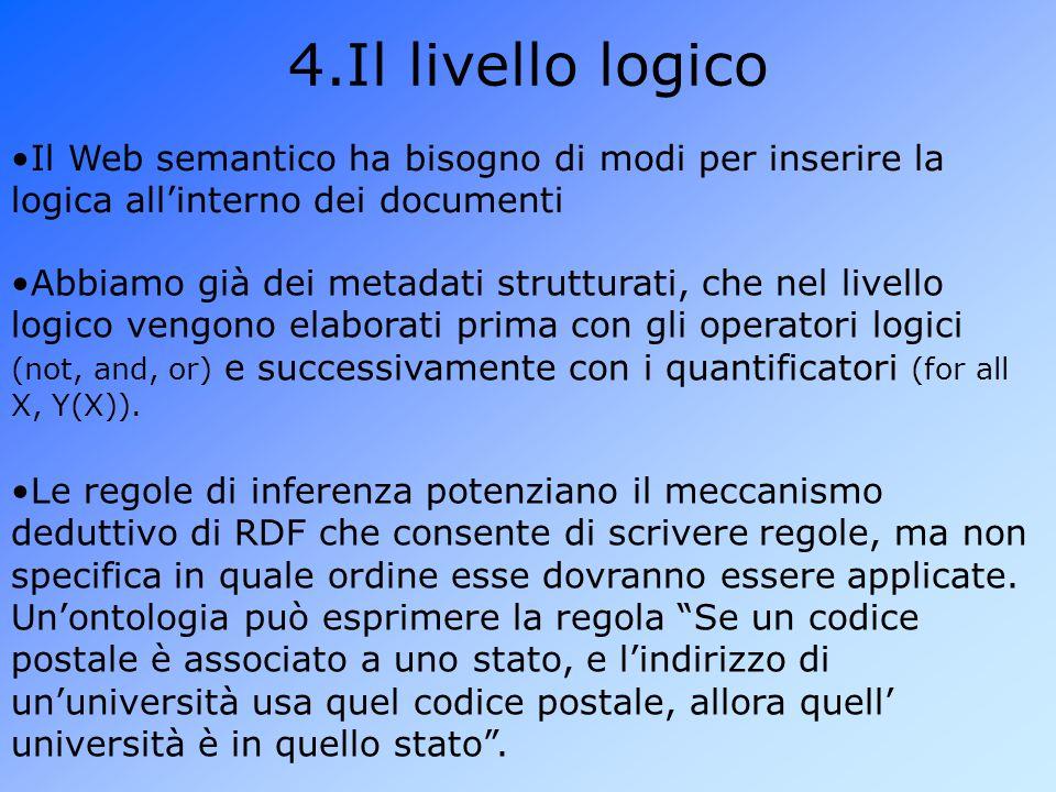 Il livello logico Il Web semantico ha bisogno di modi per inserire la logica all'interno dei documenti.