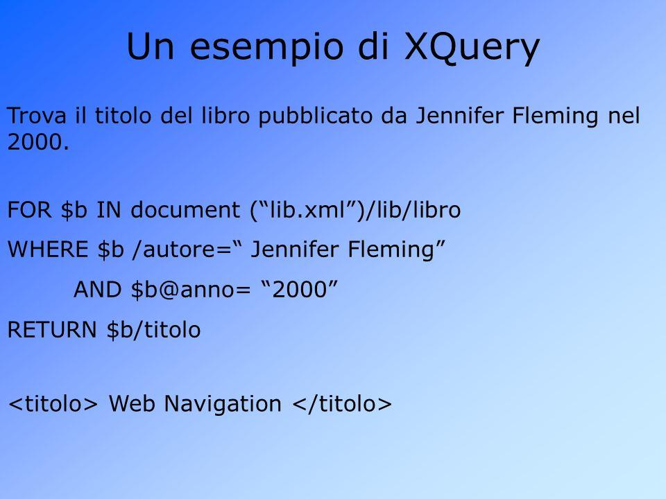 Un esempio di XQuery Trova il titolo del libro pubblicato da Jennifer Fleming nel 2000. FOR $b IN document ( lib.xml )/lib/libro.