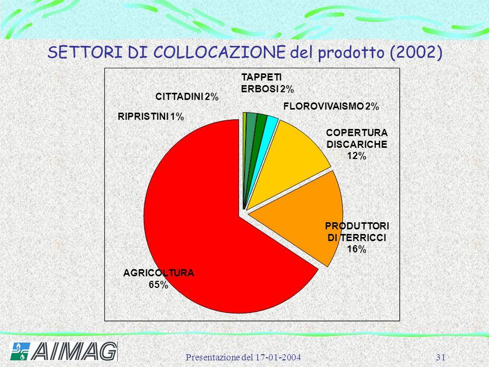 SETTORI DI COLLOCAZIONE del prodotto (2002)