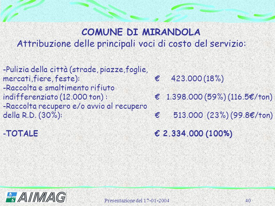 Attribuzione delle principali voci di costo del servizio: