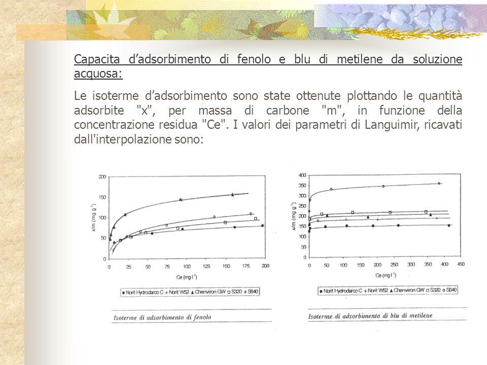 Capacita d'adsorbimento di fenolo e blu di metilene da soluzione acquosa: