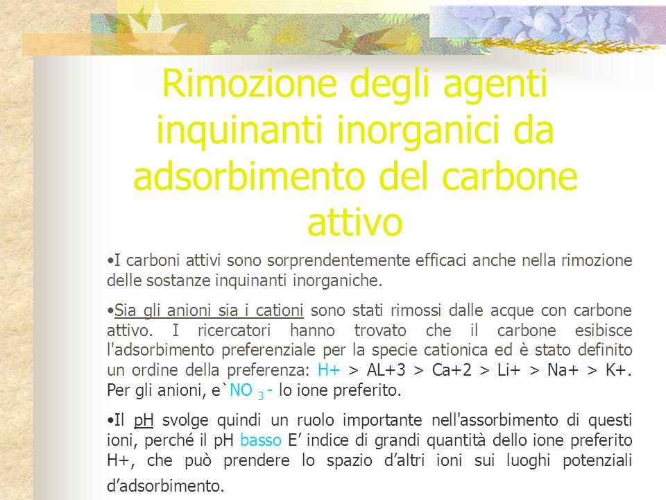 Rimozione degli agenti inquinanti inorganici da adsorbimento del carbone attivo