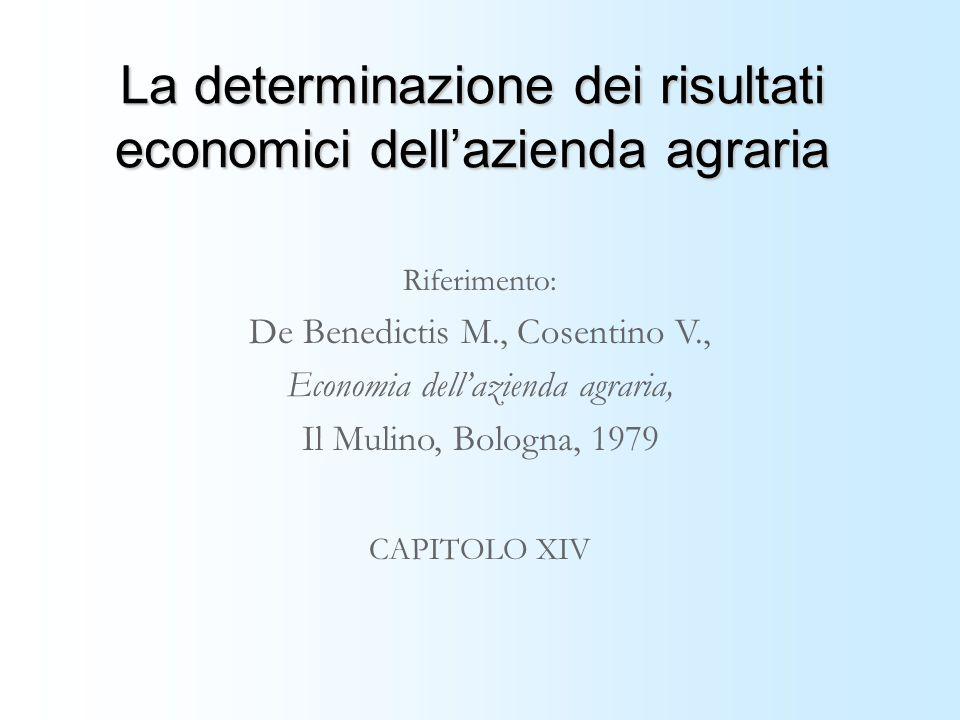 La determinazione dei risultati economici dell'azienda agraria
