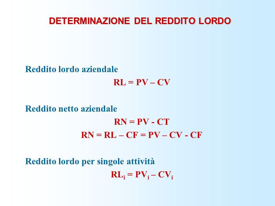 DETERMINAZIONE DEL REDDITO LORDO