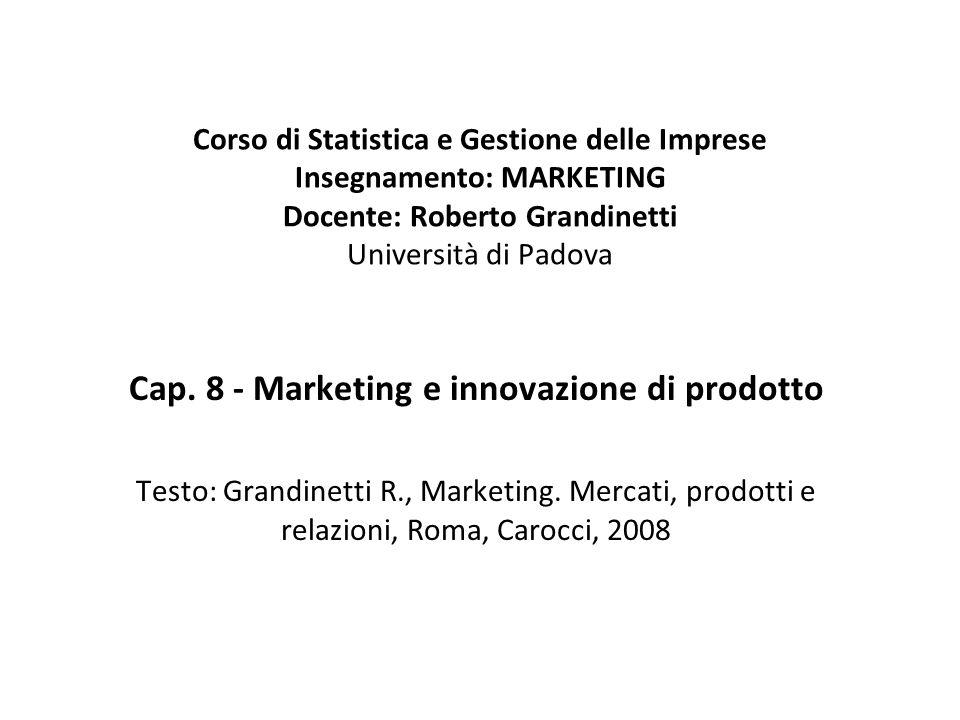 Cap. 8 - Marketing e innovazione di prodotto
