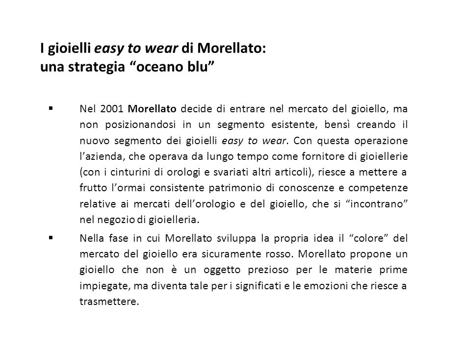 I gioielli easy to wear di Morellato: una strategia oceano blu