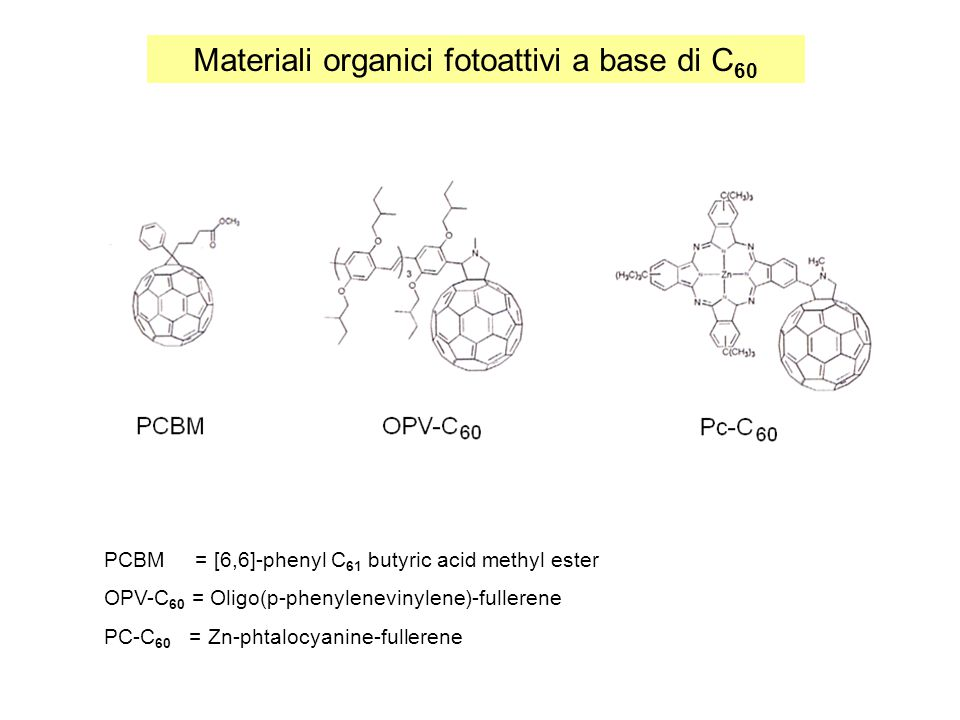 Materiali organici fotoattivi a base di C60
