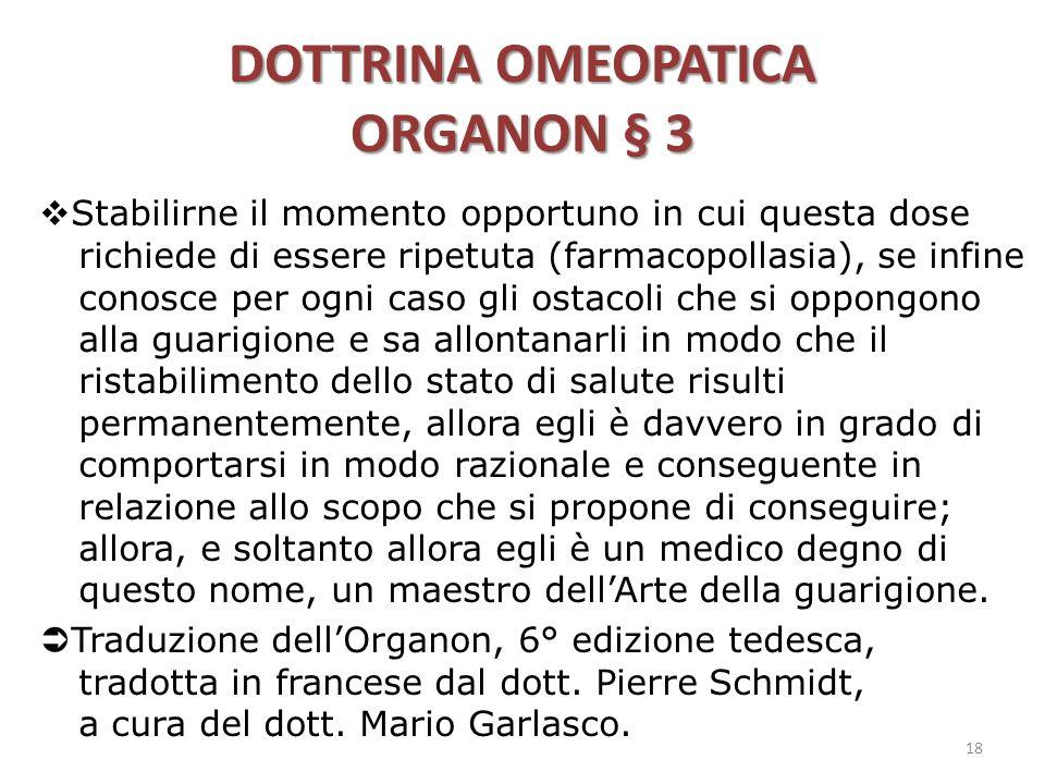 DOTTRINA OMEOPATICA ORGANON § 3
