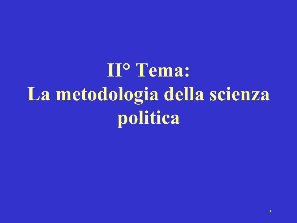 II° Tema: La metodologia della scienza politica