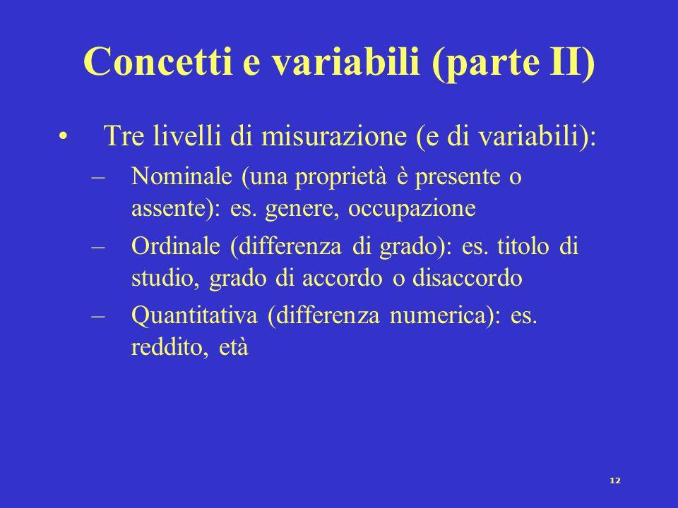Concetti e variabili (parte II)