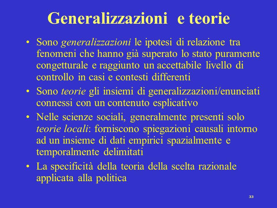 Generalizzazioni e teorie