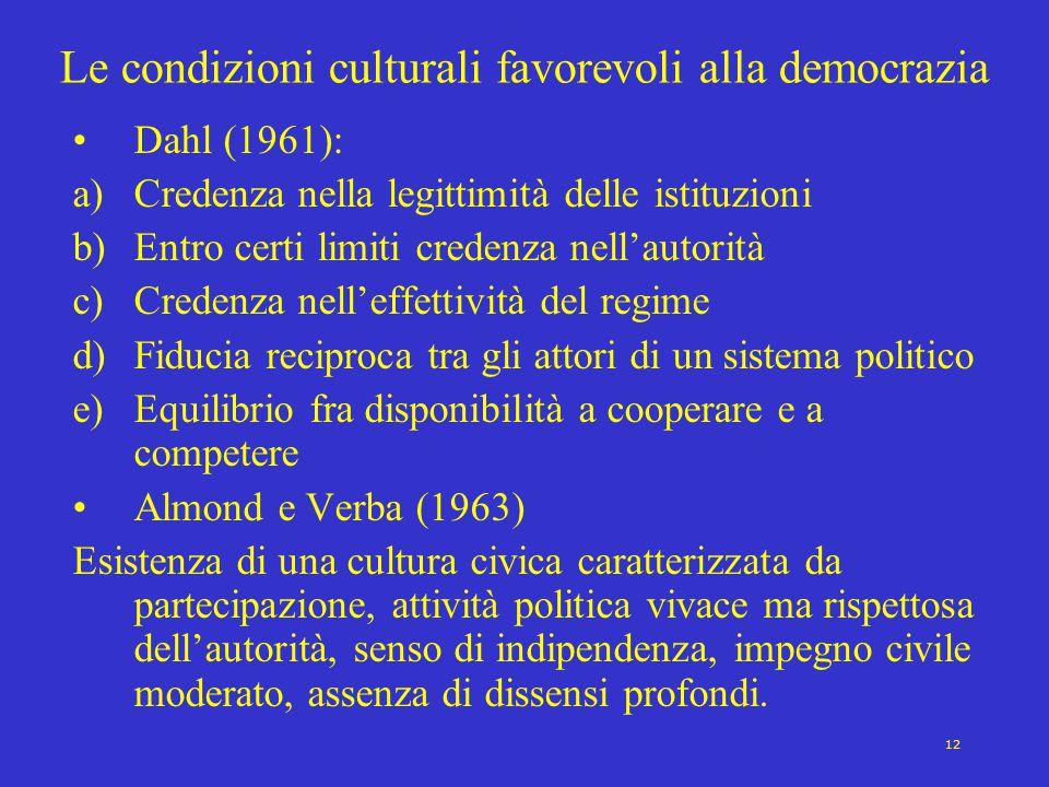 Le condizioni culturali favorevoli alla democrazia