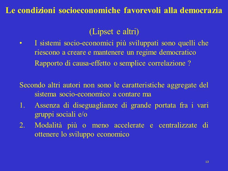 Le condizioni socioeconomiche favorevoli alla democrazia