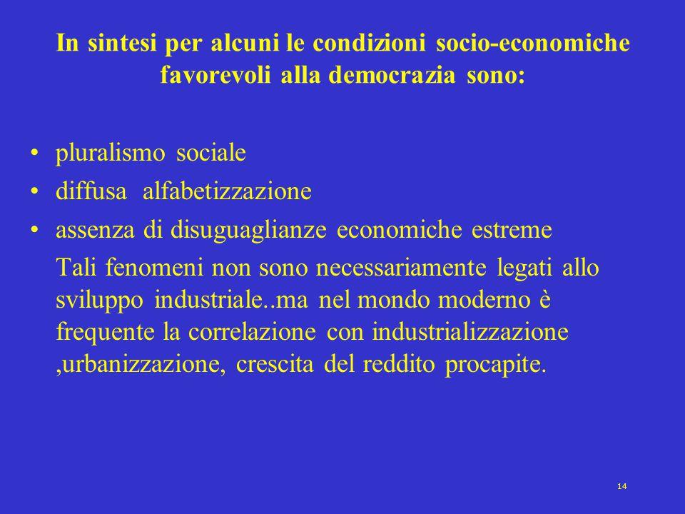 In sintesi per alcuni le condizioni socio-economiche favorevoli alla democrazia sono:
