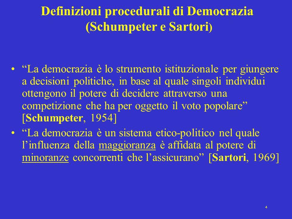 Definizioni procedurali di Democrazia (Schumpeter e Sartori)
